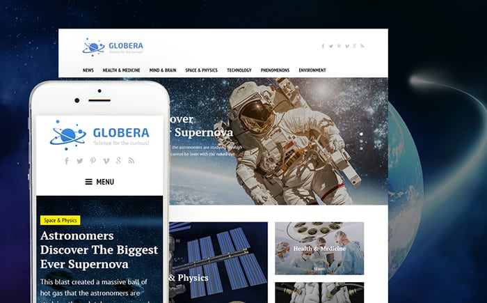Globera - Science News Portal & Magazine WordPress Theme