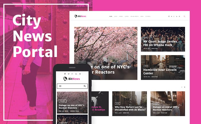 BitNews - Blog Magazine & News Portal WordPress Theme:-