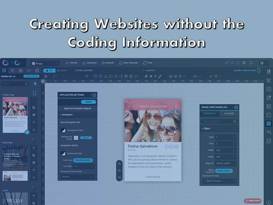 Web Composition Tools for Creating Websites without the Coding Information